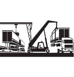 crane moves container from truck to carriage vector image vector image