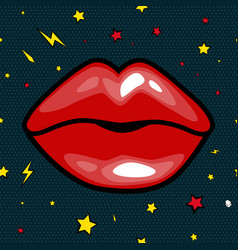 Fashion girls lips with red lipstick in cartoon vector