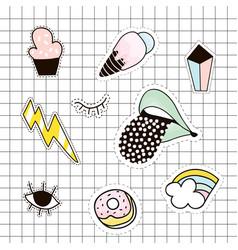 fashion patches set lipsdiamondpalm cloudice vector image