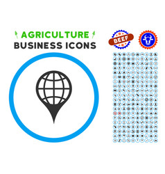 global location rounded icon with set vector image