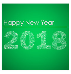 Green happy new year 2018 from little snowflakes vector