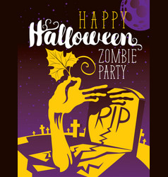 Halloween banner with zombie arm and grave vector