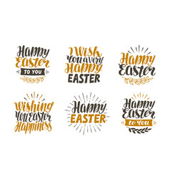 Happy easter label set hand drawn lettering vector