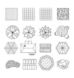 Landscape garden design elements set line vector