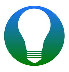 light lamp sign white icon in bluish vector image