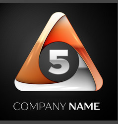 number five logo symbol in the colorful triangle vector image vector image