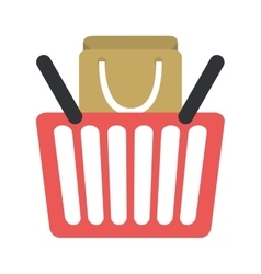 Red basket shopping bag gift online vector