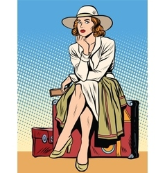 retro girl passenger with a ticket vector image