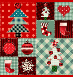 Seamless christmas background in patchwork style vector