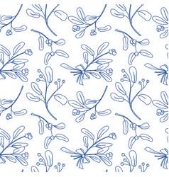 Seamless pattern with mistletoe vector