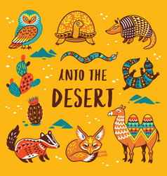 Set with cartoon animals of desert vector