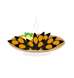 Steamed mussels vector