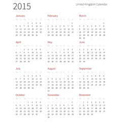United kingdom 2015 year calendar with week vector