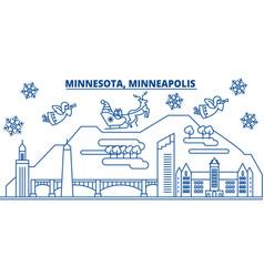 Usa minnesota minneapolis winter city skyline vector