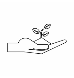 Plant in the hand icon outline style vector