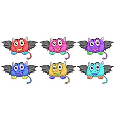 Six smiling monster heads with wings vector image