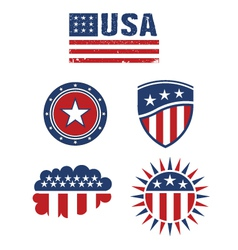 Usa star flag design elements logo vector