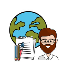 Teacher with school tools and global planet vector
