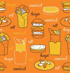 hamburgers on an orange background vector image