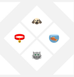 flat icon pets set of kitty puppy fishbowl and vector image