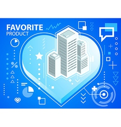 Bright heart and buildings on blue backgroun vector