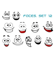 Emotions faces with happiness and fun vector
