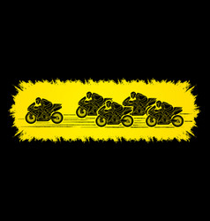 5 motorcycle racing team side view graphic vector