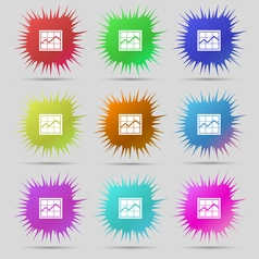 Chart icon sign a set of nine original needle vector