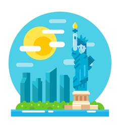 Liberty statue flat design landmark vector