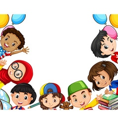 International children and school objects vector image
