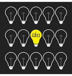 On and off light bulb set idea concept flat design vector