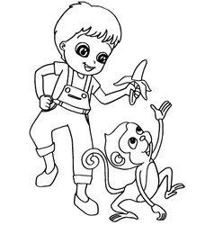 Coloring book child feeding monkeys vector