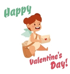 Valentine day cupid angel cartoon style vector