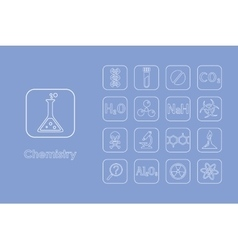 Set of chemistry simple icons vector