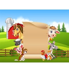 Cartoon farm animals with blank sign vector image