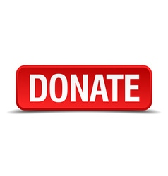 Donate red 3d square button isolated on white vector