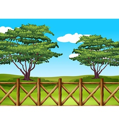 A beautiful landscape with a fence vector
