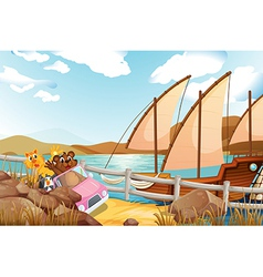 A pink car with animals at the riverbank with a vector