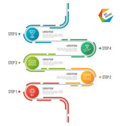 Abstract 5 steps road timeline infographic vector