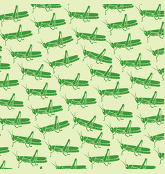 background pattern with green grasshopper vector image vector image