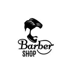 barbershop beard mustache head icon vector image vector image
