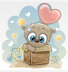 birthday card with a cute teddy bear vector image
