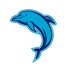 Blue dolphin jumping retro vector