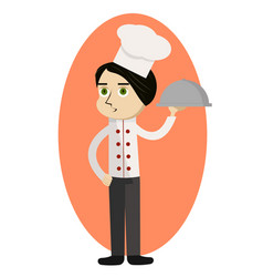 cartoon chef carrying dinner plate with perfect vector image