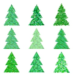 Collection of original green spruces vector image vector image