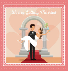 Colorful gretting card with couple groom carrying vector