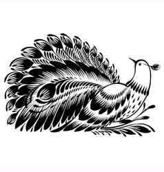 Decorative silhouette of a peacock vector