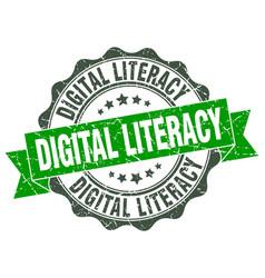 Digital literacy stamp sign seal vector