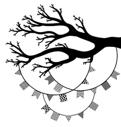 drawing of the tree with flags vector image vector image