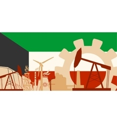 Energy and power icons set with kuwait flag vector